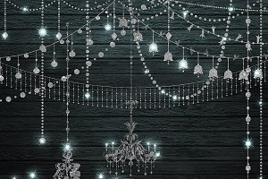 Silver Glitter Chandeliers Clipart