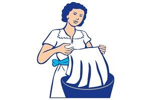 Housewife Washing Laundry Retro