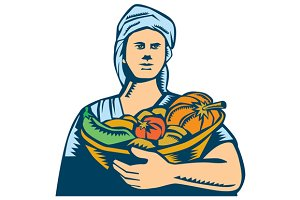 Lady Organic Farmer Produce Harvest