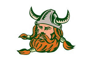Viking Warrior Head Woodcut