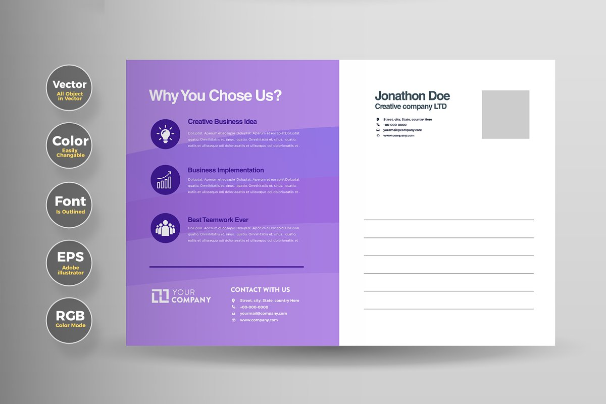 Business Mail EDDM Postcard Design in Card Templates - product preview 1