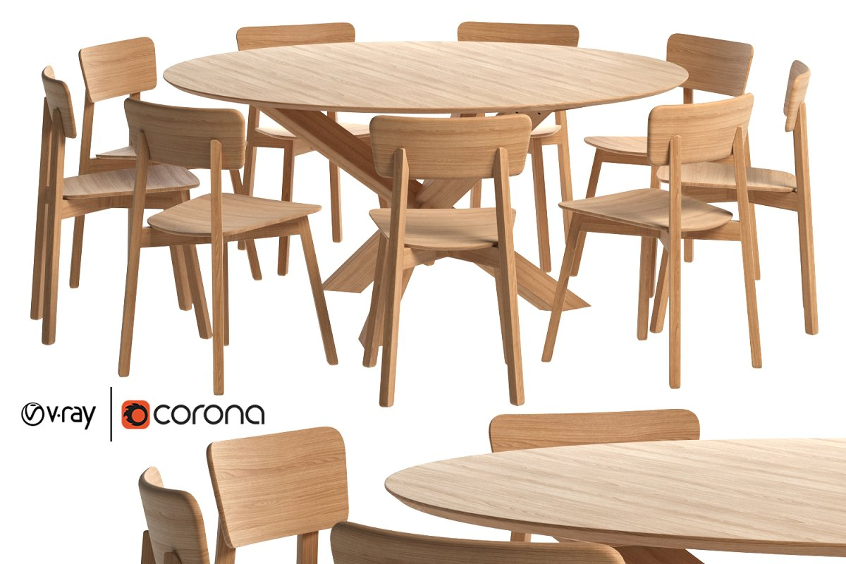 Oak Casale dining chair with Mikado