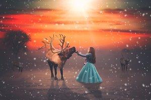 15- Reindeer PNG Overlays - VOL II