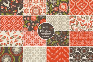 Rustic Christmas Vector Patterns
