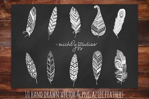 Digital Clipart Tribal Feathers