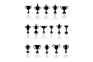 Black silhouette trophy icons