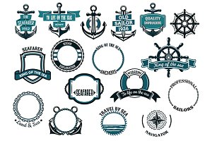 Set of nautical or marine themed ico
