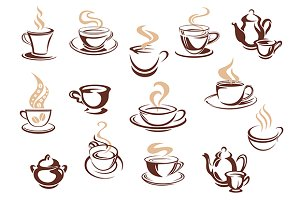 Set of doodle sketch coffee icons