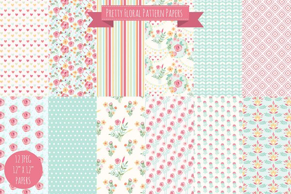 Pretty Floral Digital Papers Graphic Patterns Creative Market