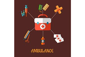 Ambulance icons flat concept