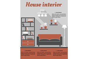 Living room interior infographic tem