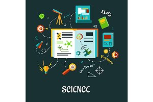 Creative science flat concept