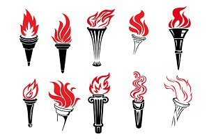 Set of burning torches