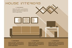 Living room interior vector infograp