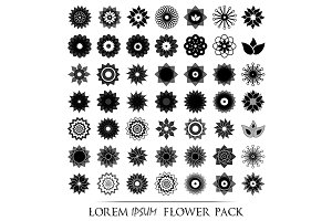 Pack of 49 transparent flower icons