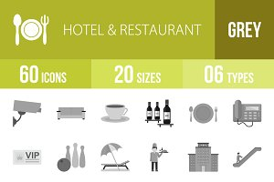60 Hotel&Restaurant Greyscale Icons