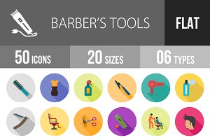 50 Barber's Tool Flat Shadowed Icons