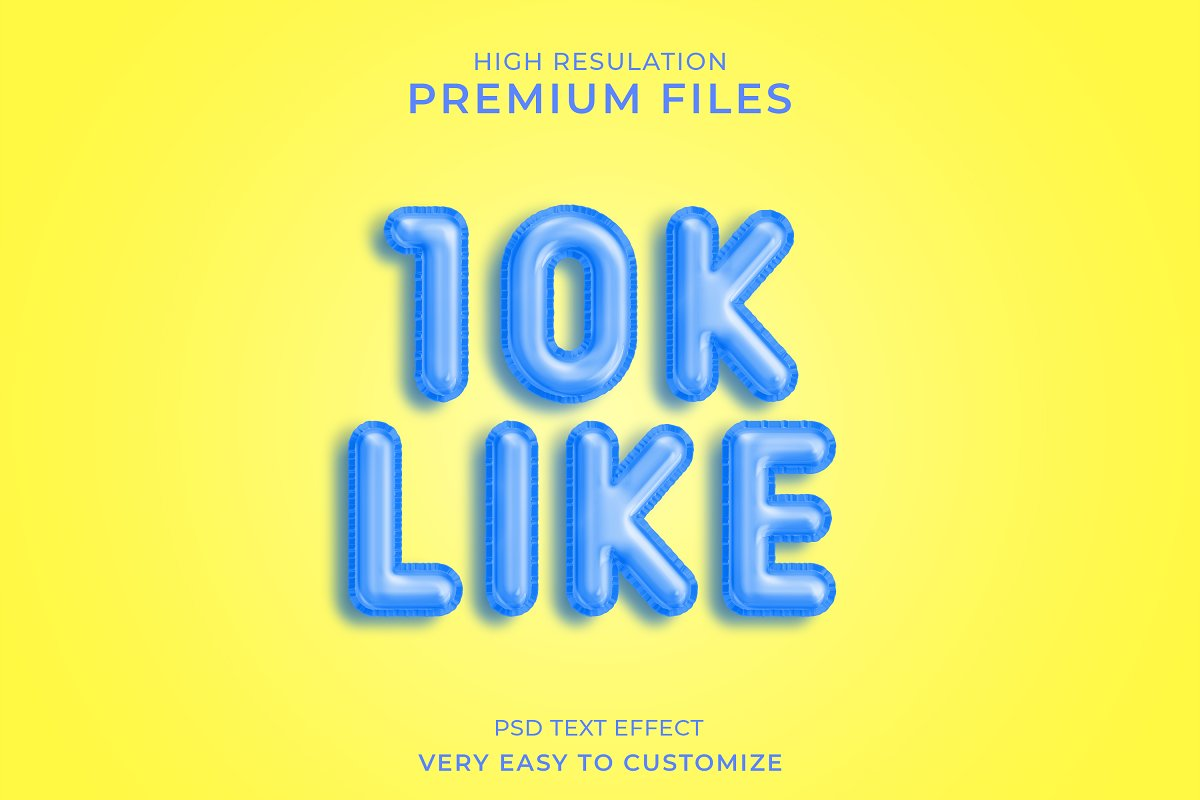 10k like 3d text style mockup in Add-Ons - product preview 8