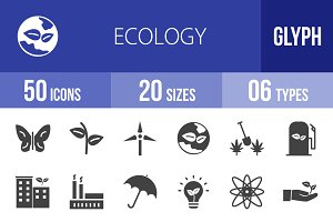 50 Ecology Glyph Icons