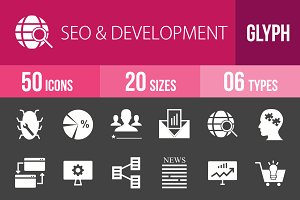 50 SEO & Development Glyph Inverted