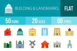 50 Buildings Flat Multicolor Icons