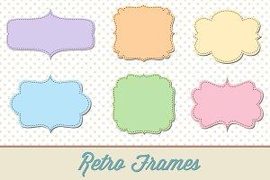 Retro Label Frames Brushes Set No 29