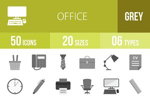 50 Office Greyscale Icons