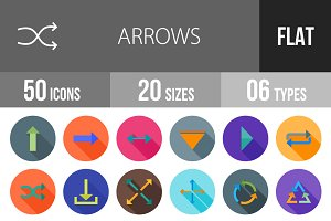 50 Arrows Flat Shadowed Icons