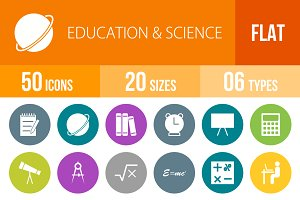 50 Education & Science Flat Round