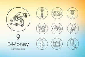 9 e-money icons