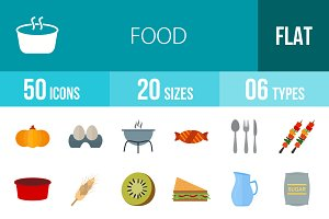 50 Food Flat Multicolor Icons