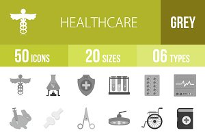 50 Healthcare Greyscale Icons