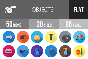 50 Objects Flat Shadowed Icons