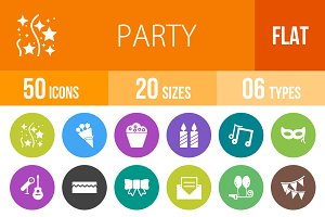 50 Party Flat Round Icons
