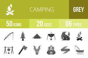 50 Camping Greyscale Icons
