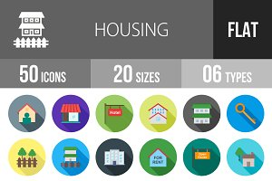 50 Housing Flat Shadowed Icons