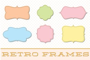 Retro Label Frames Shapes Set No 28