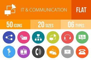 50 IT&Communication Flat Round Icons