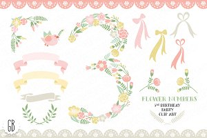 Floral number, 3rd birthday clip art