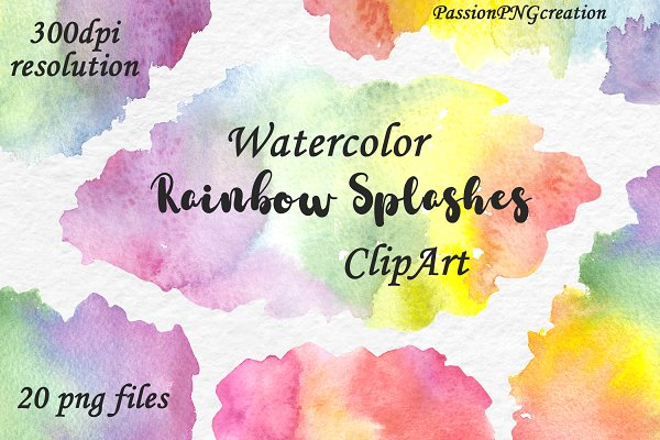 Watercolor Rainbow Splashes ClipArt