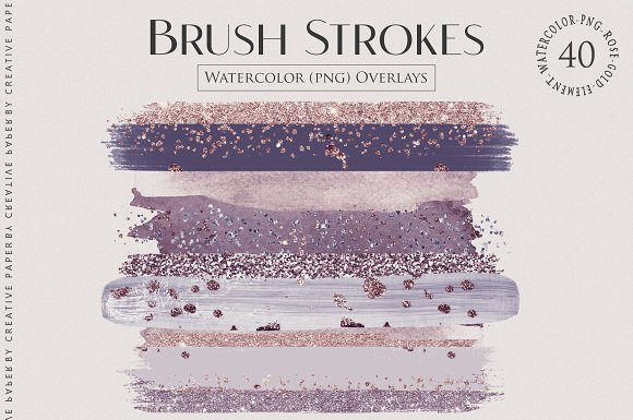 Watercolor Brush Strokes Png Overlay in Textures - product preview 2