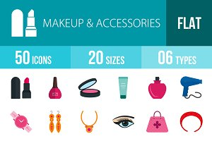 50 Makeup Flat Multicolor Icons