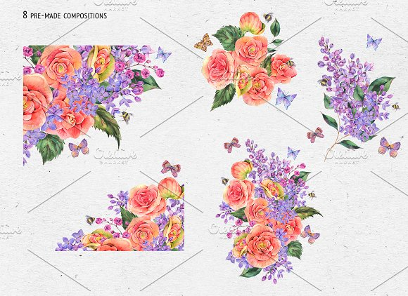 Watercolor Lilac&Begonia Clipart in Illustrations - product preview 2