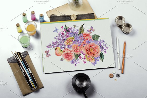 Watercolor Lilac&Begonia Clipart in Illustrations - product preview 3