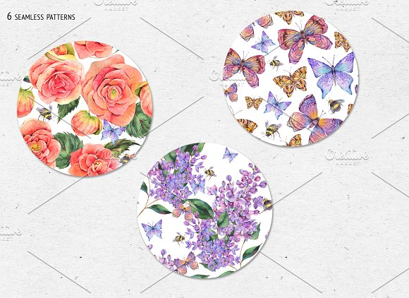 Watercolor Lilac&Begonia Clipart in Illustrations - product preview 9