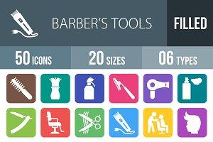 50 Barber's Tools Flat Round Corner