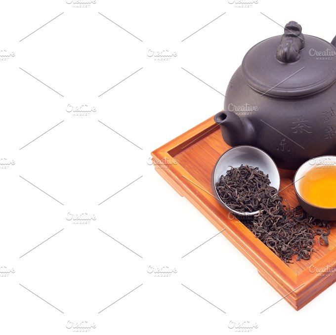 Chinese green tea set on wood tray 01.jpg - Food & Drink