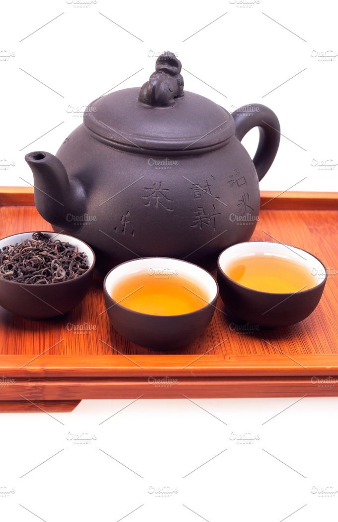 Chinese green tea set on wood tray 02.jpg - Food & Drink
