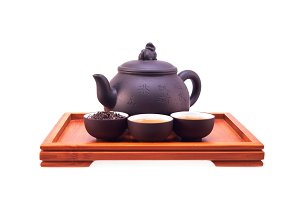 Chinese green tea set on wood tray 05.jpg