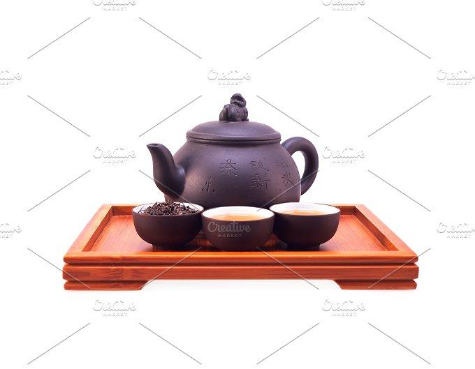 Chinese green tea set on wood tray 05.jpg - Food & Drink